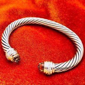 David Yurman Silver Bracelet Morganite + Diamonds
